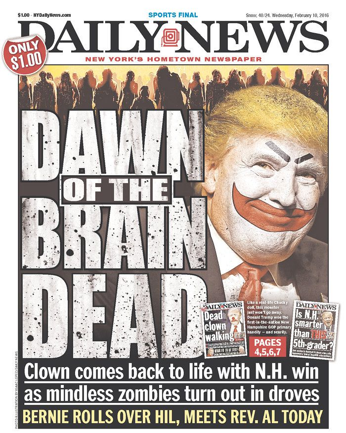 """New York Daily News front page with """"Dawn of the Brain Dead"""" headline"""