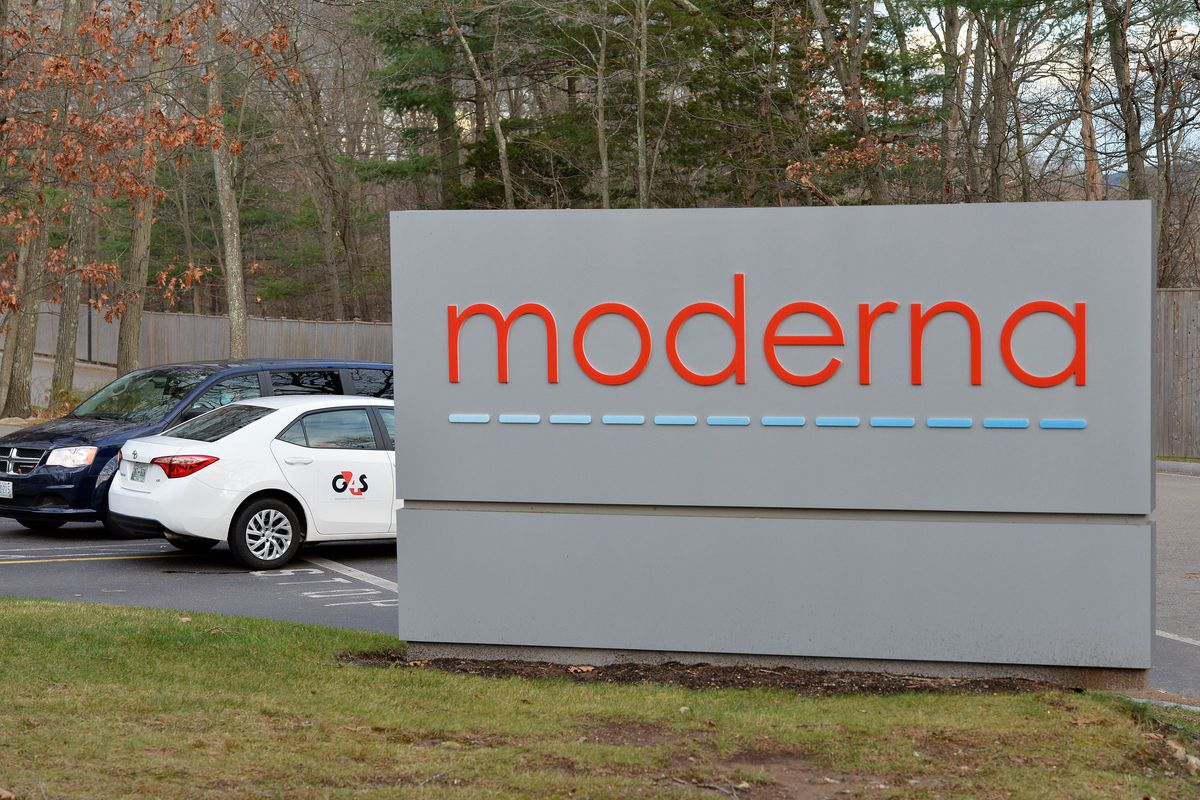 The Moderna logo is seen at the Moderna campus in Norwood, Massachusetts on December 2, 2020.