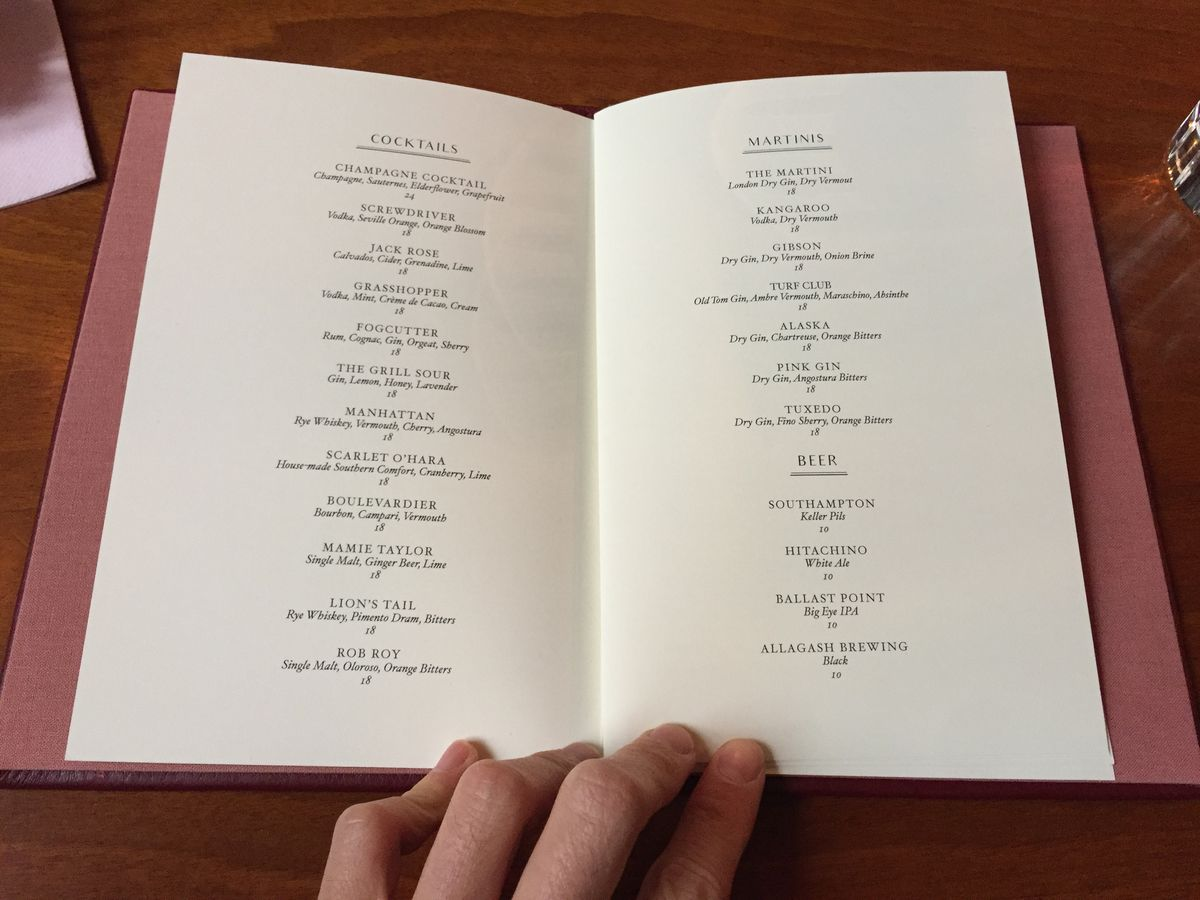 The Grill cocktail menu