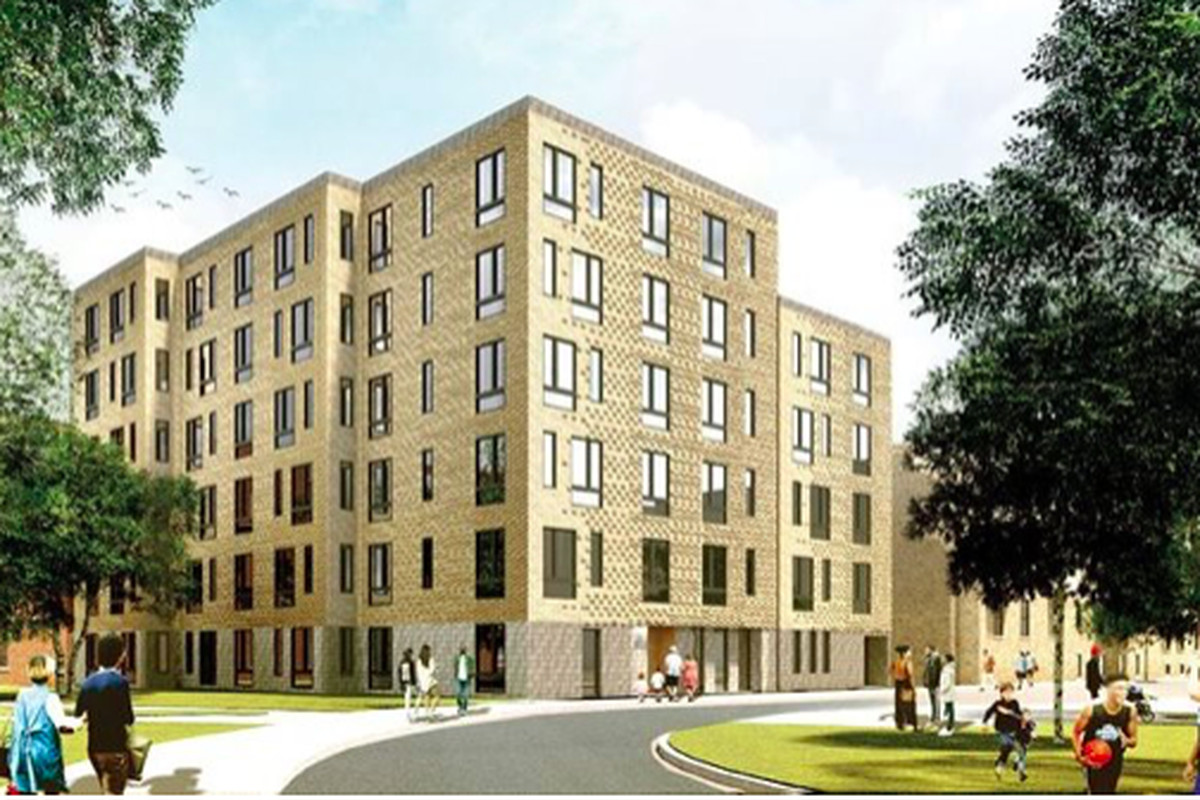 A rendering of a five-and-a-half-story apartment building.