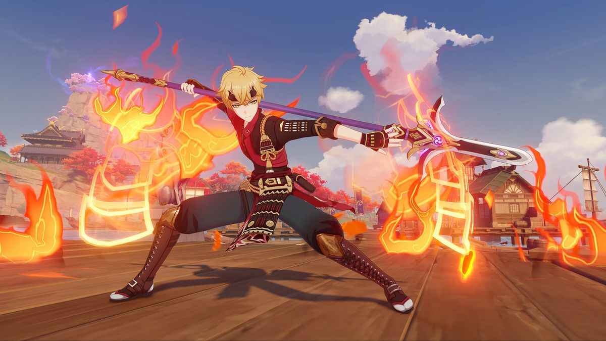 Thoma from genshin impact wields a blazing spear