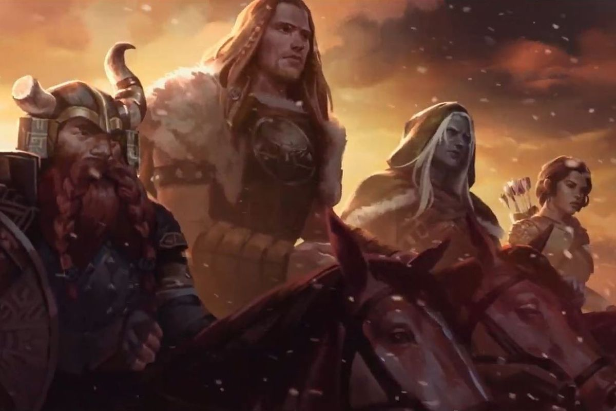 New key art showing Bruenor, Wulfgar, Drizzt, and Catti together on horseback.