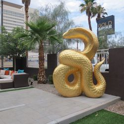 A golden snake at the Gold Spike.