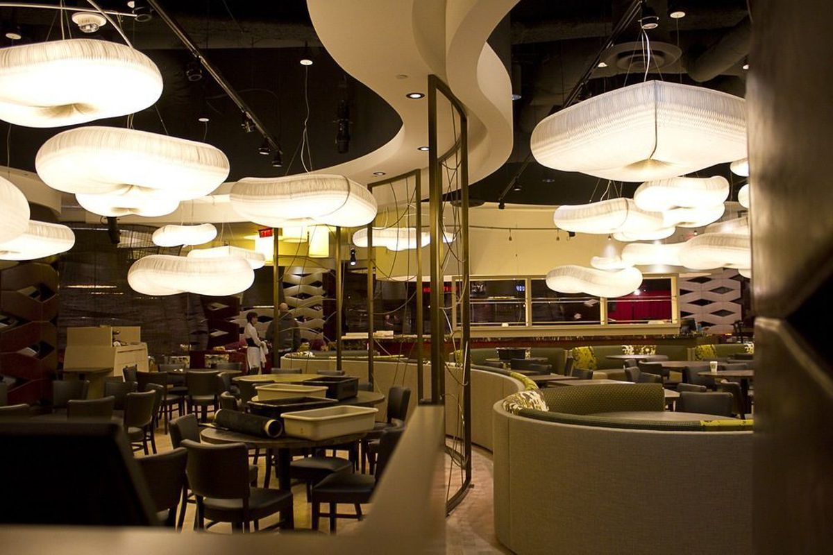 The dining room at Nobu Restaurant & Lounge. The light fixtures looks like pillowy clouds.
