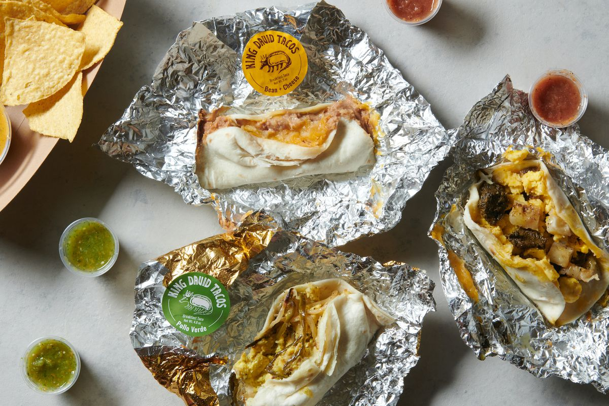 A spread of Austin-style tacos at King David Tacos