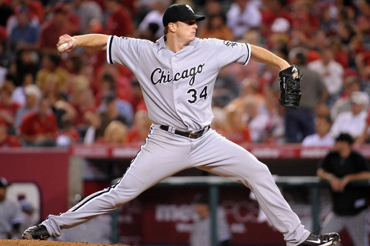 May 16, 2012; Anaheim, CA, USA; Chicago White Sox starter Gavin Floyd (34) delivers a pitch against the Los Angeles Angels at Angel Stadium. Mandatory Credit: Kirby Lee/Image of Sport-US PRESSWIRE