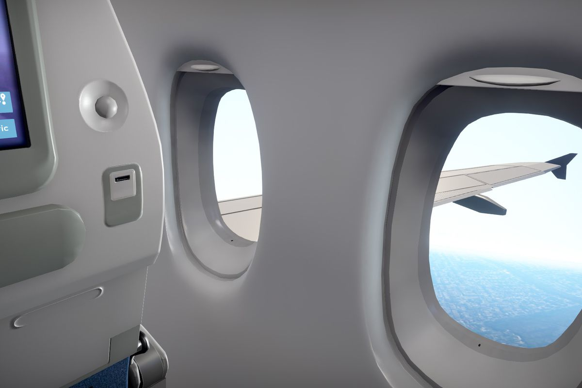 scene out the window of a passenger flight in AMC's absurdist game Airplane Mode