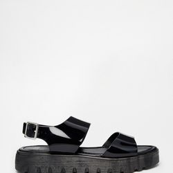Asos has a number of jelly-but-not-jellies options, like these plastic platform sandals, also available in all-white and clear nude with white soles.
