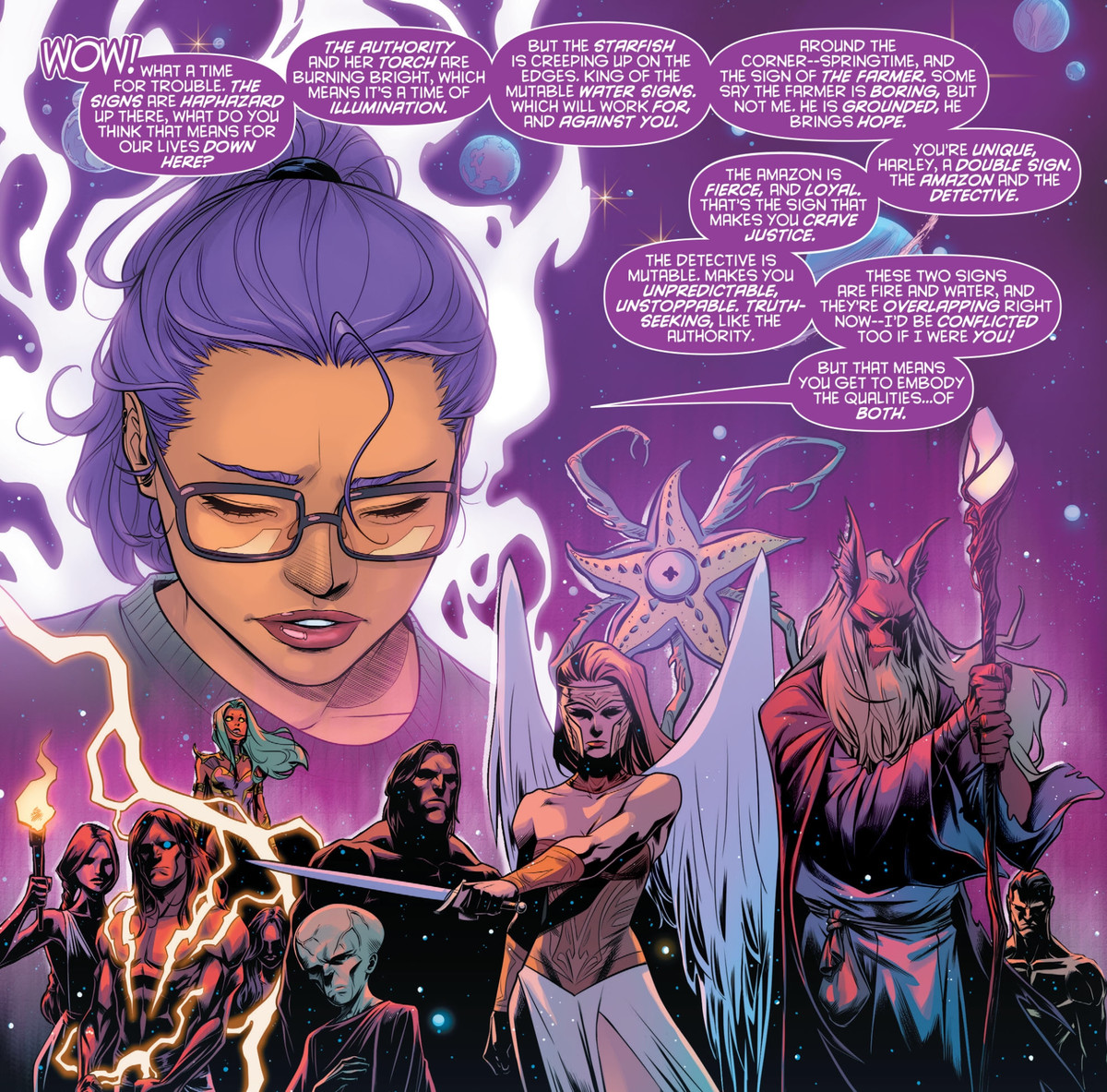 Charity XO, online zodiac expert, reads Harley Quinn's star chart, explaining the zodiac signs of the DC Universe, including the Authority, the Starfish, the Amazon, the Detective, and the Farmer, in Harley Quinn #73, DC Comics (2020).