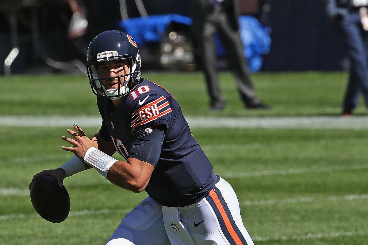 Bears quarterback Mitch Trubisky completed 18-of-28 passes for 190 yards, two touchdowns and two interceptions for a 78.0 passer rating — and rushed four times for 16 yards — in a 17-13 victory over the Giants on Sunday at Soldier Field.