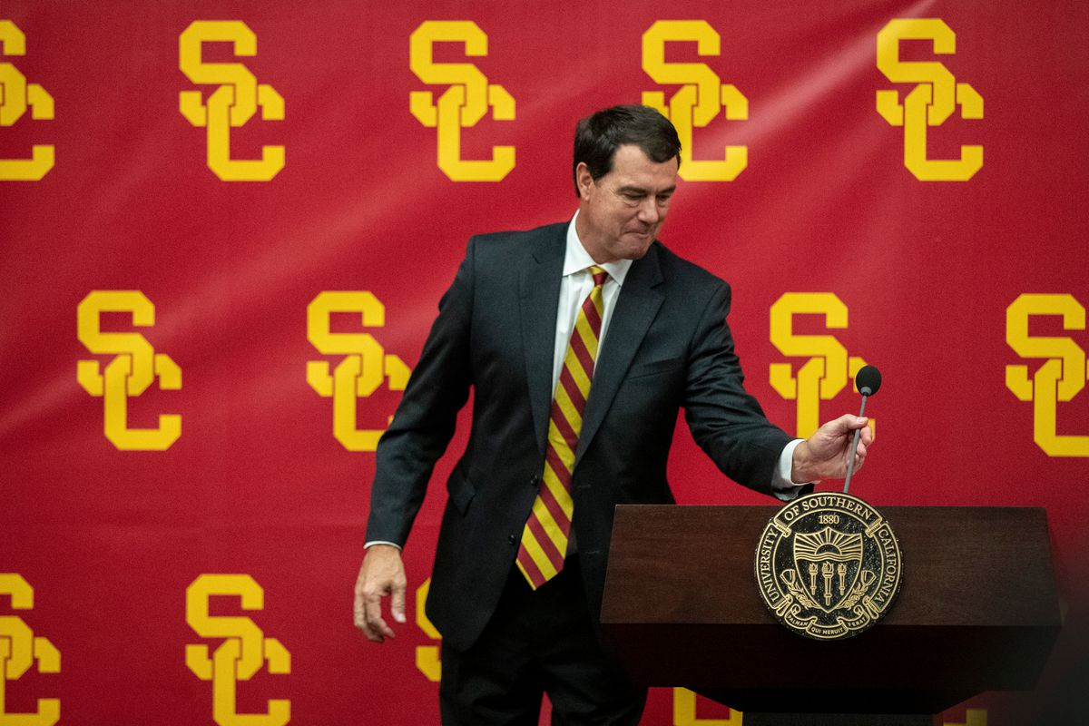 USC President Carol L. Folt introduces new USC athletic director Mike Bohn