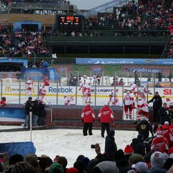 The Red Wings in their pregame skatearound