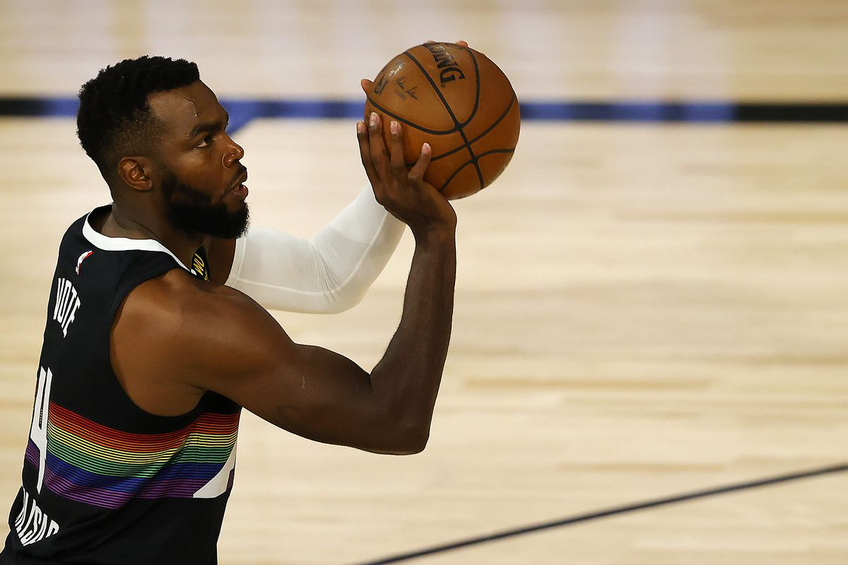 Paul Millsap of the Denver Nuggets shoots the ball against the Utah Jazz during the first quarter in game five of the first round of the 2020 NBA Playoffs at ESPN Wide World of Sports Complex.