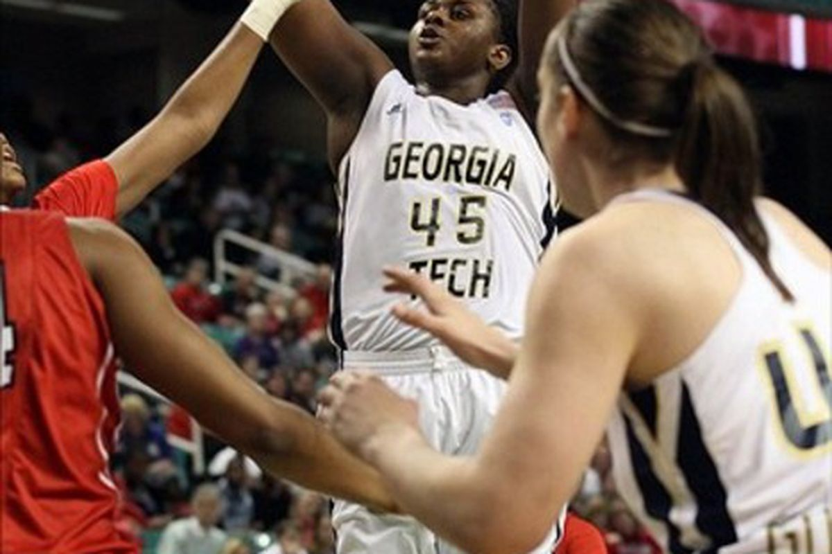 Sasha Goodlett's ability to hit mid-range jumpers might set her apart from other center prospects in the 2012 WNBA Draft, but the improvement over her career at Georgia Tech might be even more impressive. <em> Jeremy Brevard-US PRESSWIRE</em>
