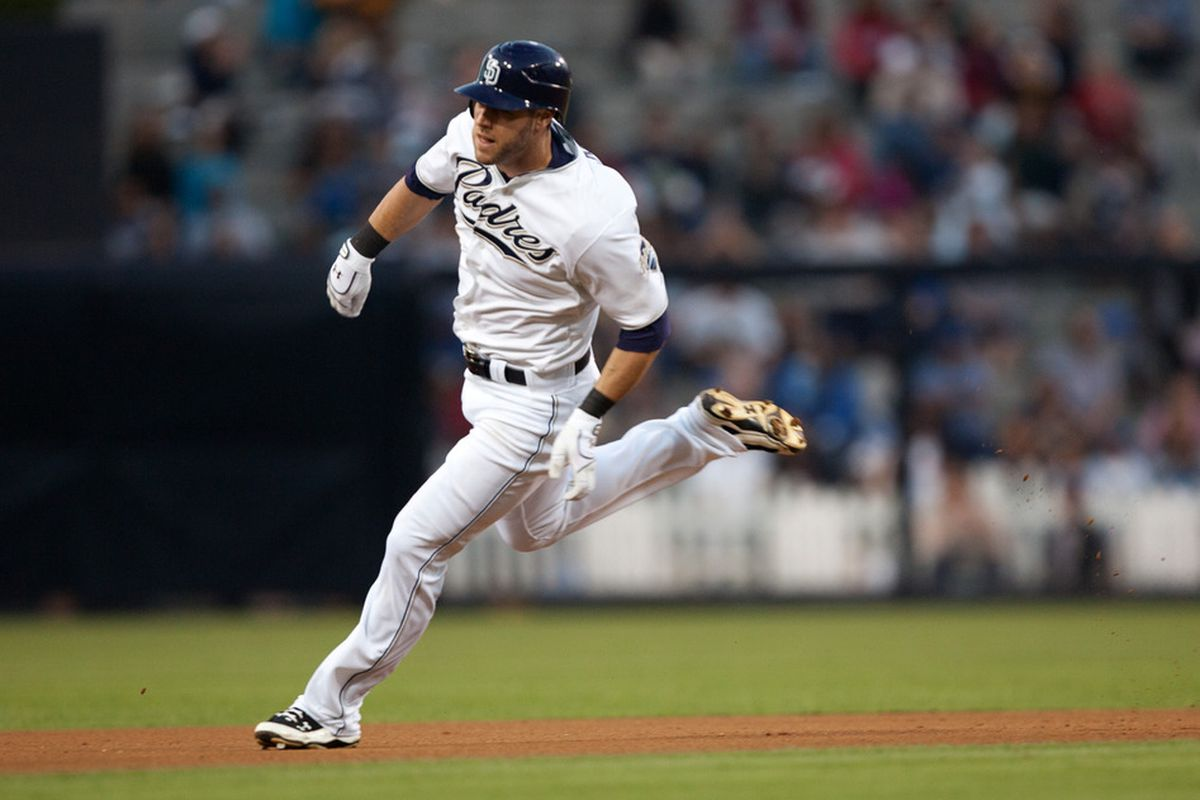 SAN DIEGO, CA - SEPTEMBER 24: Jeremy Hermida #47 of the San Diego Padres runs the bases during the game against the Los Angeles Dodgers at Petco Park on September 24, 2011 in San Diego, California. (Photo by Kent C. Horner/Getty Images)
