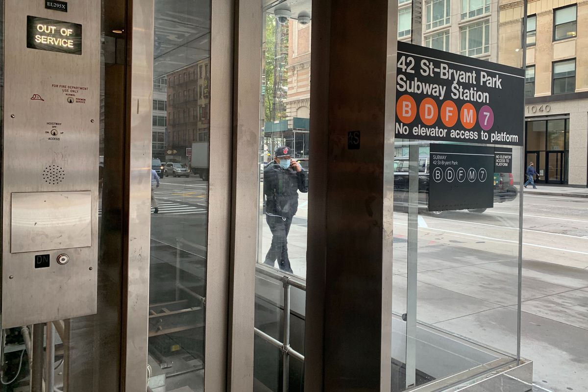 An elevator leading to the 42 St.-Bryant Park Station was closed on Sept. 25, 2020.