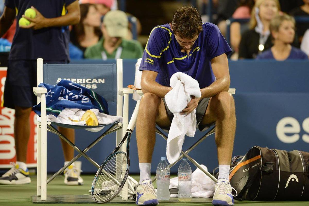 Marin Cilic of Croatia sits during his loss to Britain's Andy Murray in the quarterfinals of the 2012 US Open tennis tournament, Wednesday, Sept. 5, 2012, in New York.