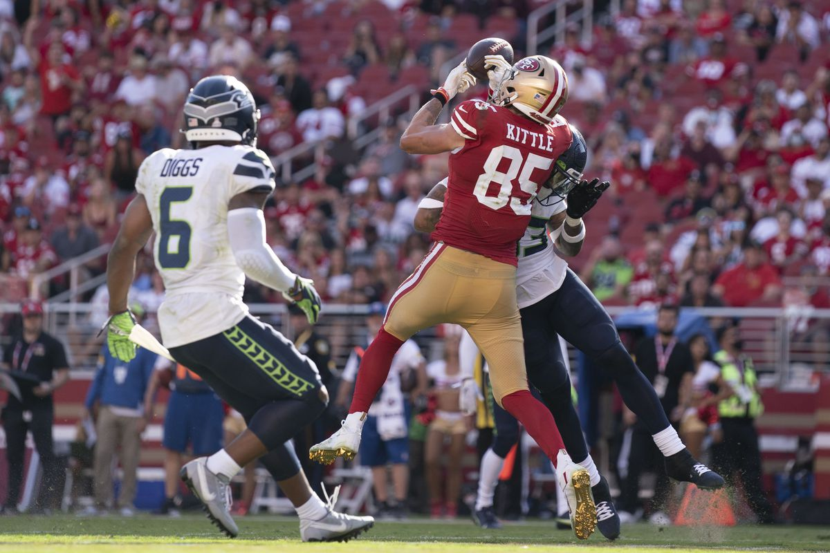 Seattle Seahawks strong safety Jamal Adams (33) hits San Francisco 49ers tight end George Kittle (85) for an incomplete pass during the third quarter at Levi's Stadium.
