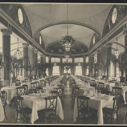"""Hotel Pennsylvania interior rooftop dining room, 1919 by Byron Company. From the Collections of the Museum of the City of New York. [<a href=""""http://collections.mcny.org/MCNY/C.aspx?VP3=ViewBox&IT=ZoomImageTemplate01_VForm&IID=2F3XC5U0AB9V&CT="""