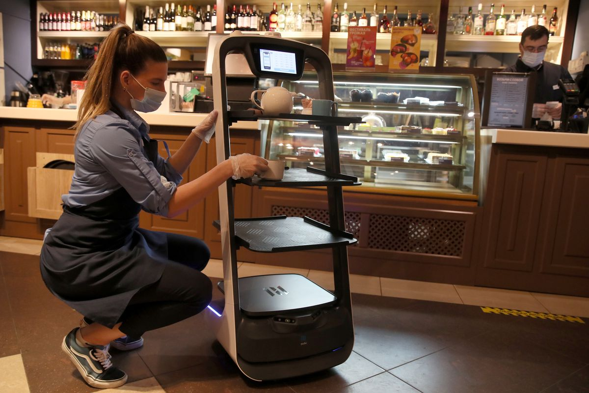 Robot waiter at Moscow coffee shop
