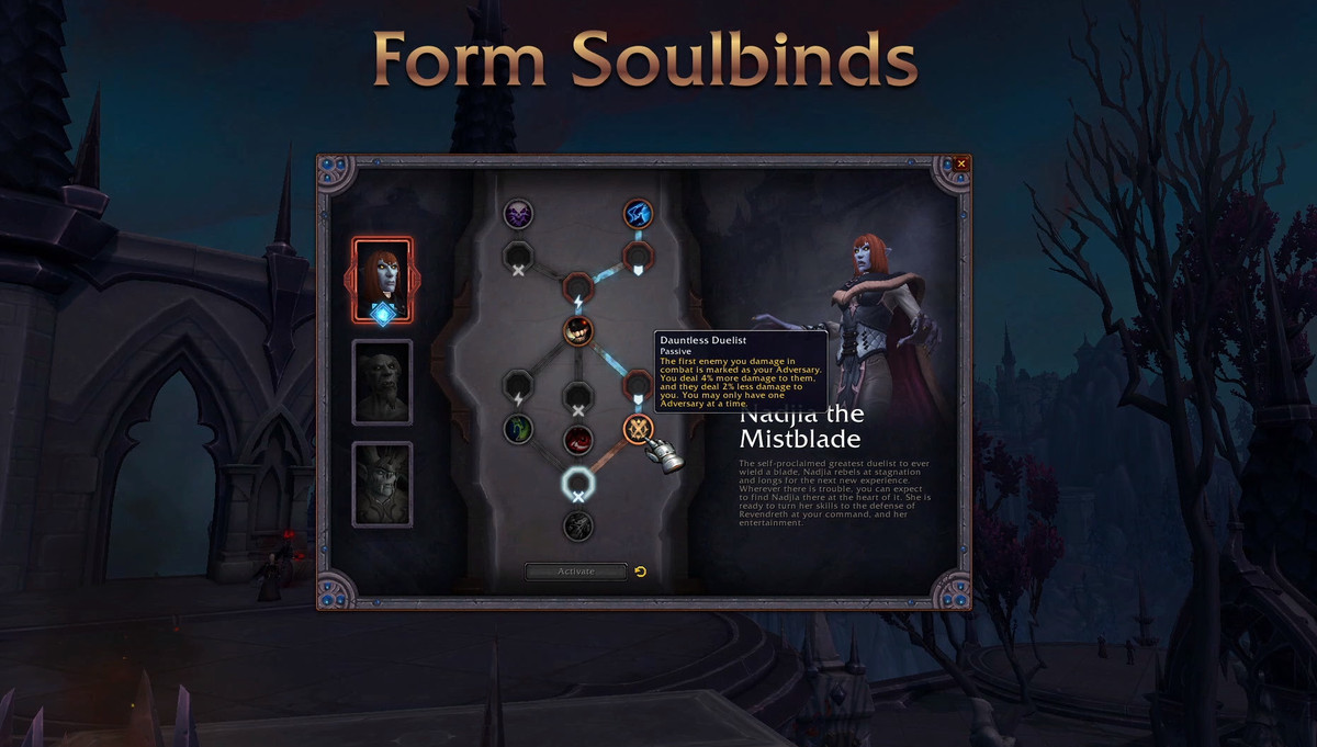 World of Warcraft - a soul-bind companion's talent tree