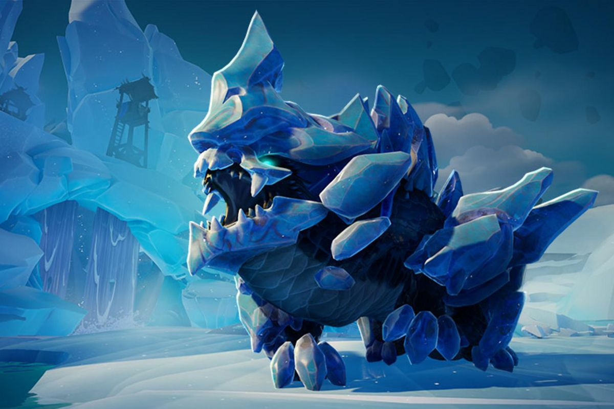 Dauntless - The Urska roars, standing in a frosty environment. The Urska is a scary looking ice monster, with powerful limbs, icicle spines, and blue eyes.