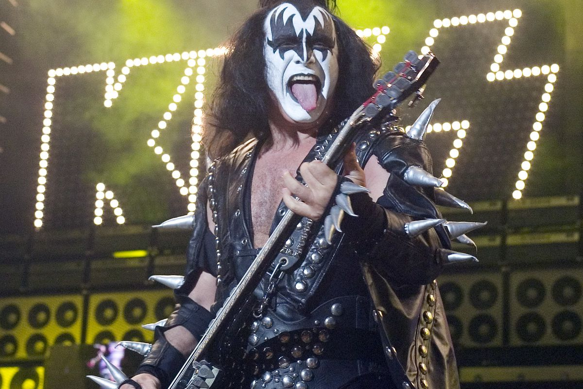 In this Tuesday, July 20, 2004 file photo, Gene Simmons, bass player for the band Kiss, performs during their performance at the PNC Bank Arts Center in Holmdel, N.J.