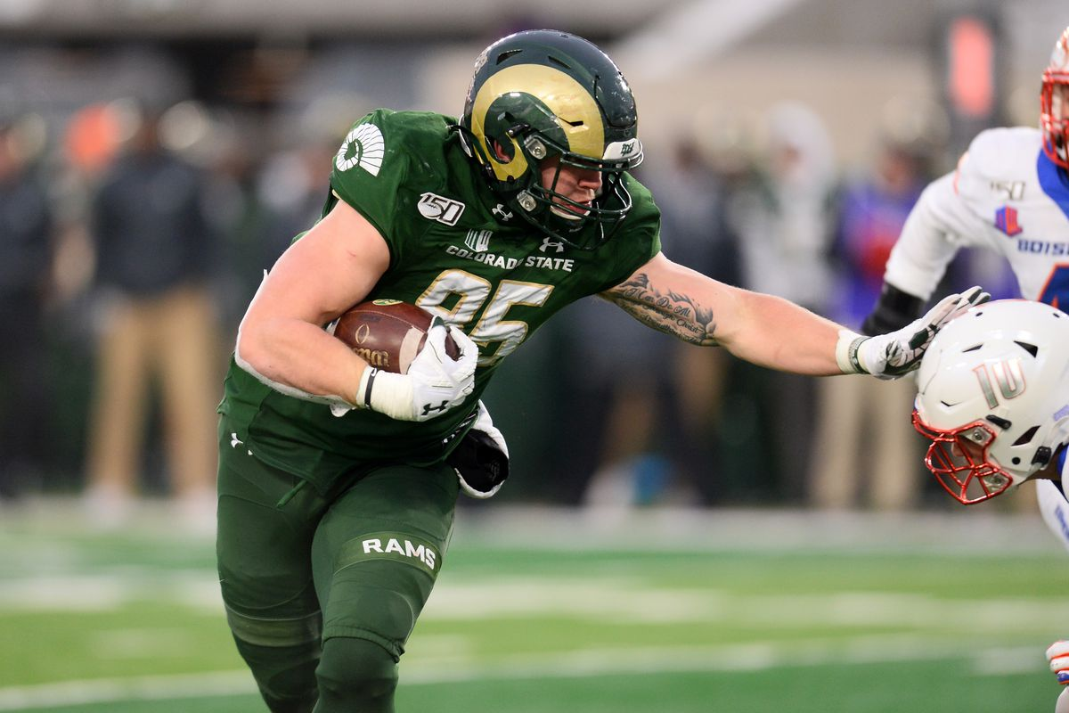 Colorado State Rams tight end Trey McBride runs for a touchdown in the third quarter against the Boise State Broncos at Sonny Lubick Field at Canvas Stadium.