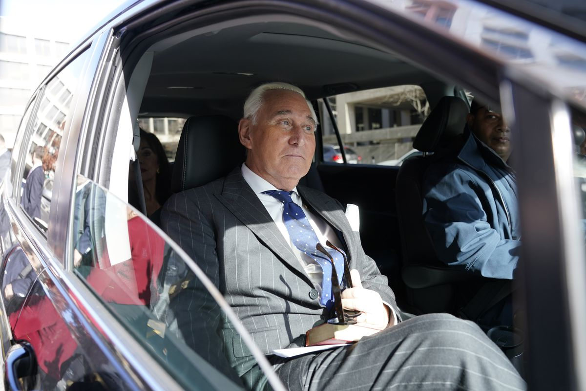 Former aide to President Donald Trump, Roger Stone leaves the E. Barrett Prettyman United States Courthouse after being found guilty of obstructing a congressional investigation into Russia's interference in the 2016 election on November 15, 2019 in Washington, DC