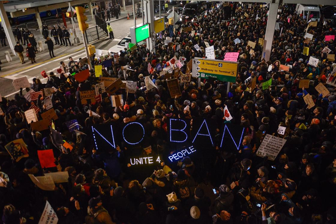 Protesters at JFK Airport
