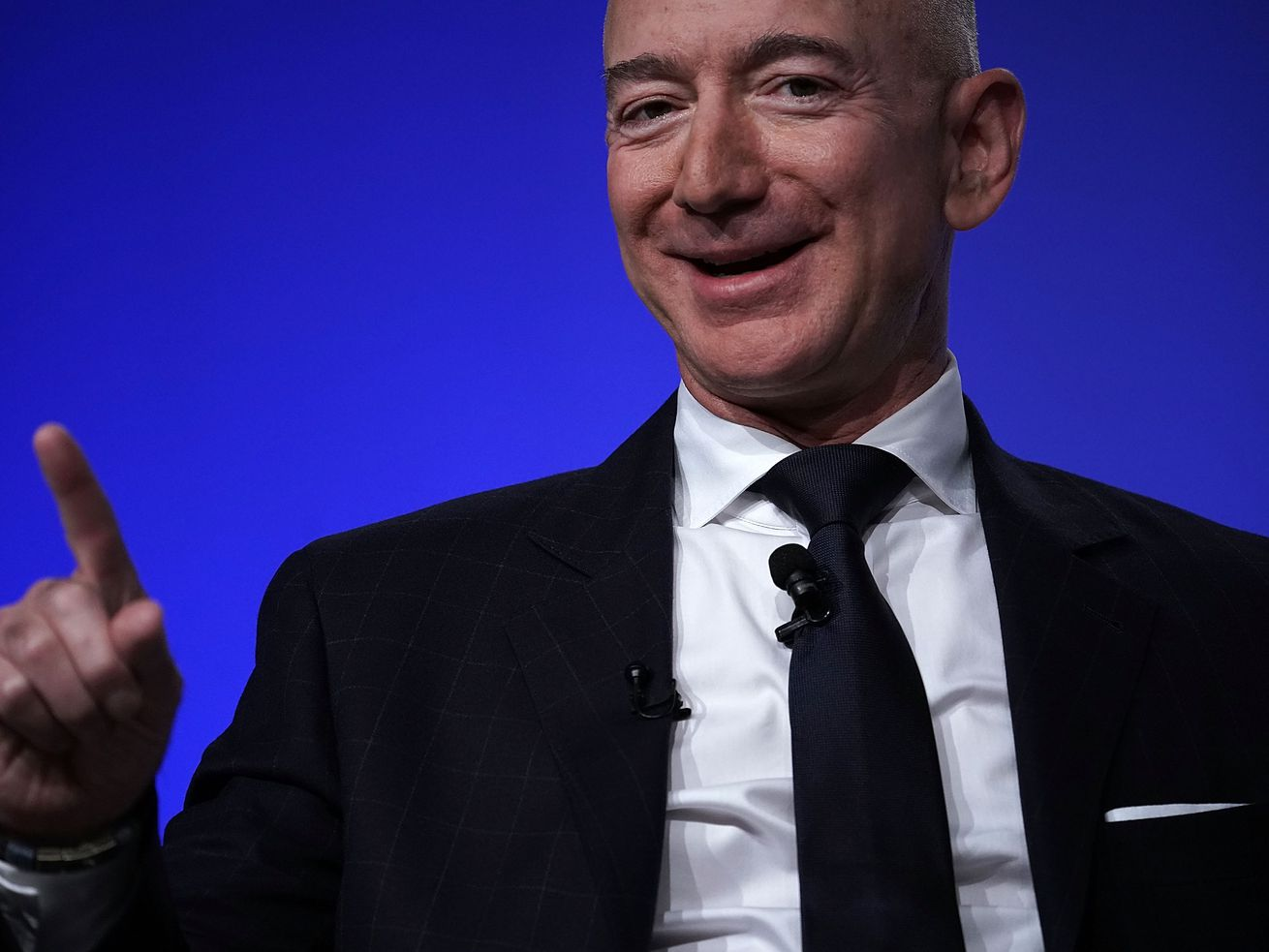 Amazon CEO Jeff Bezos speaks at the Air Force Association Air, Space, and Cyber conference.