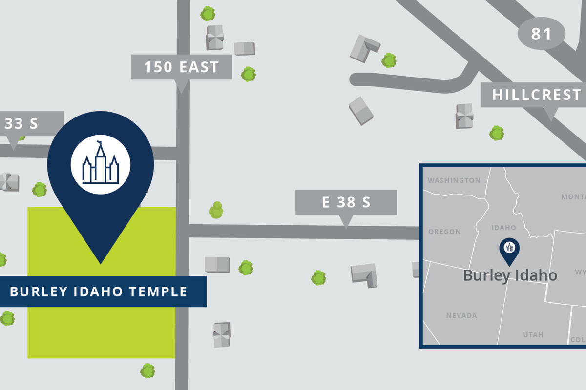 A map shows the location of the Burley Idaho Temple.