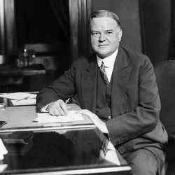 Republican Presidential candidate Herbert Hoover is pictured at his desk in his Washington headquarters, 1928.