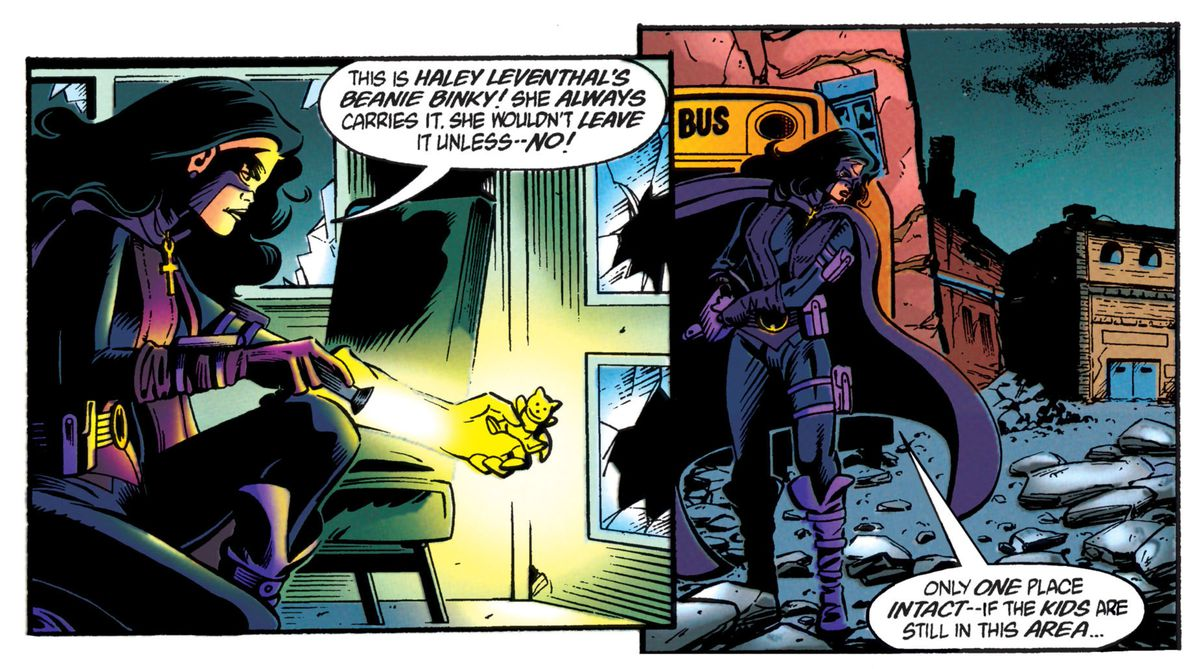 Helena Bertinelli/Huntress tracks down some missing school children in the rubble of Gotham's No Man's Land, in The Batman Chronicles #14, DC Comics (1998).