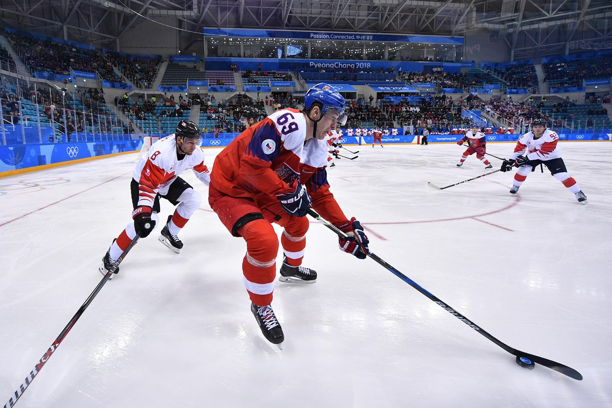 Feb 24, 2018; Gangneung, South Korea; Canada forward Wojciech Wolski (8) chases Czech Republic forward Lukas Radil (69) during the second period in the men's ice hockey bronze medal match during the Pyeongchang 2018 Olympic Winter Games at Gangneung Hocke