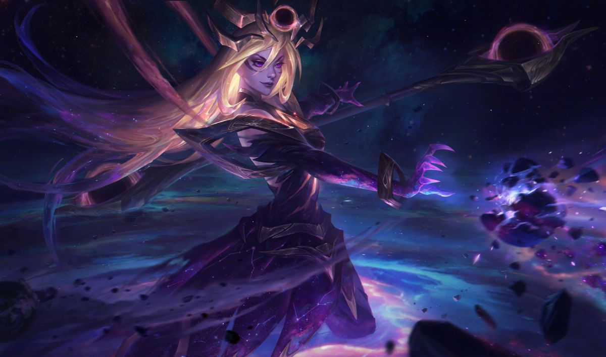 Dark Cosmic Lux destroys a planet with a menacing look on her face