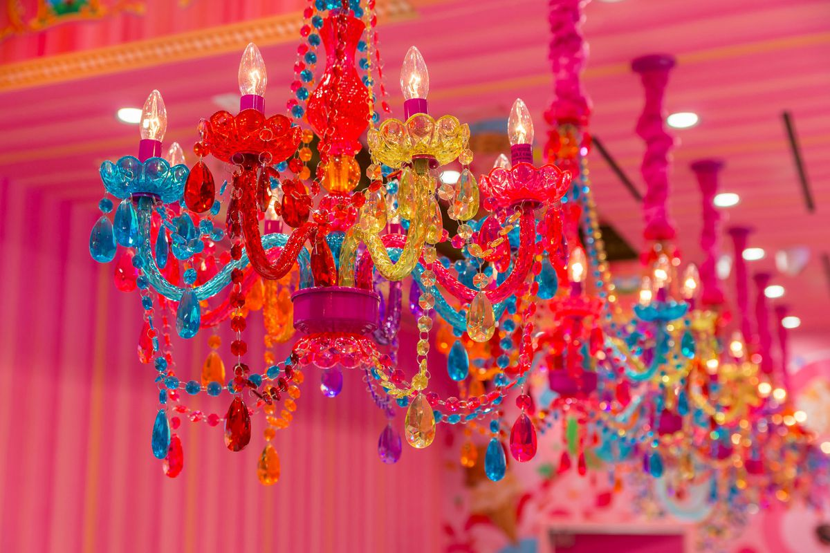 The chandeliers at Sloan's Ice Cream