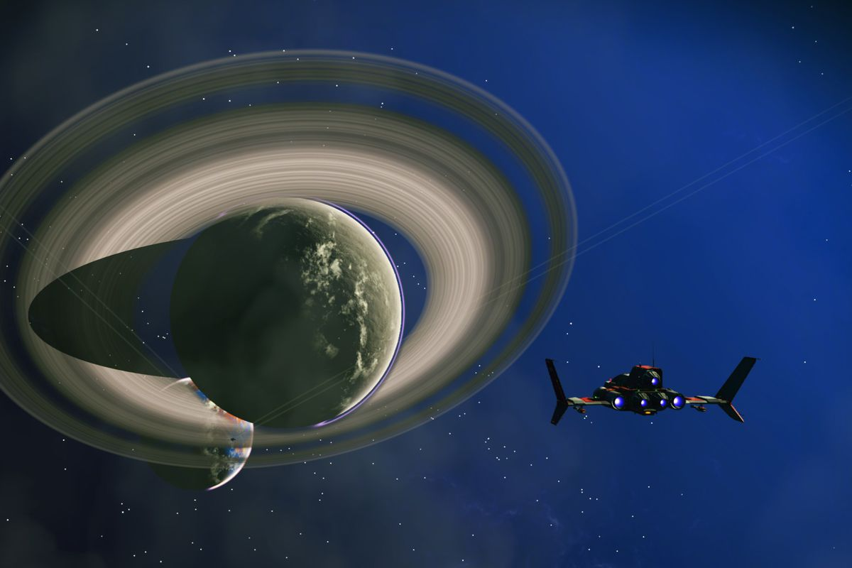 No Man's Sky - fighter approaching a ringed planet