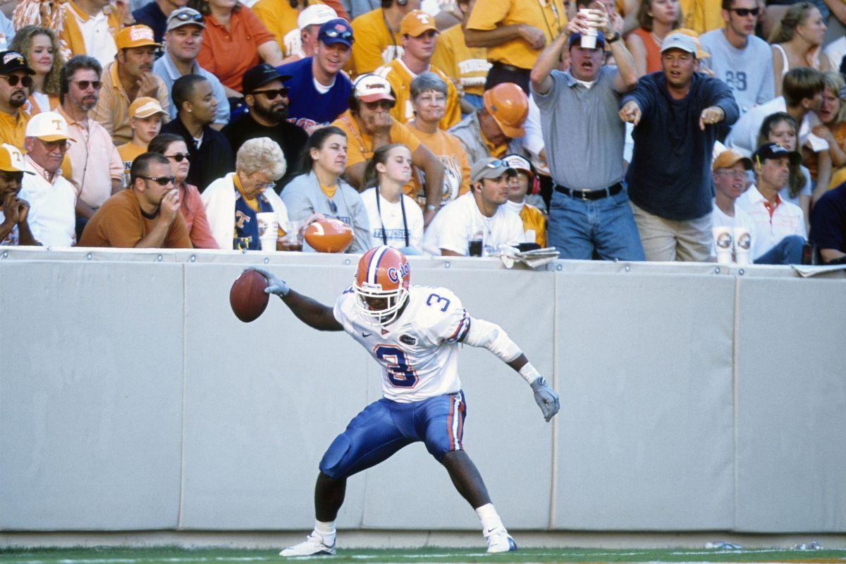 Sep 16, 2000; Knoxville, TN, USA; FILE PHOTO; Florida Gators defensive back Lito Shepard (3) celebrates after scoring a touchdown against the Tennesse Volunteers at Neyland Stadium. Mandatory Credit: US PRESSWIRE