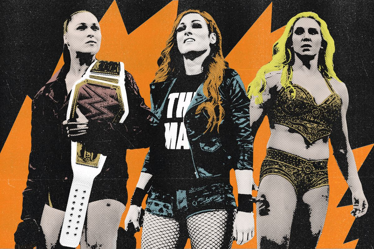 Ronda Rousey, Becky Lynch, and Charlotte Flair