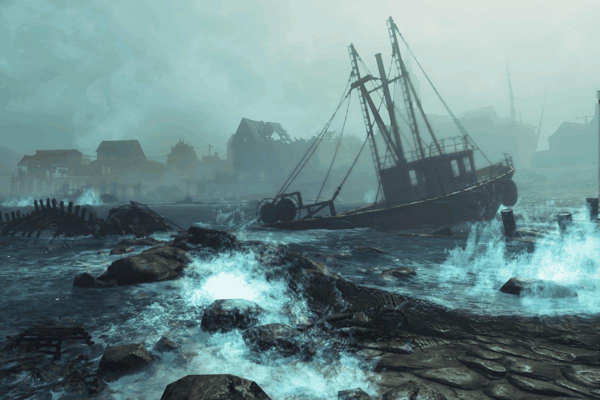 Fallout 4: Far Harbor - a shipwreck near shore