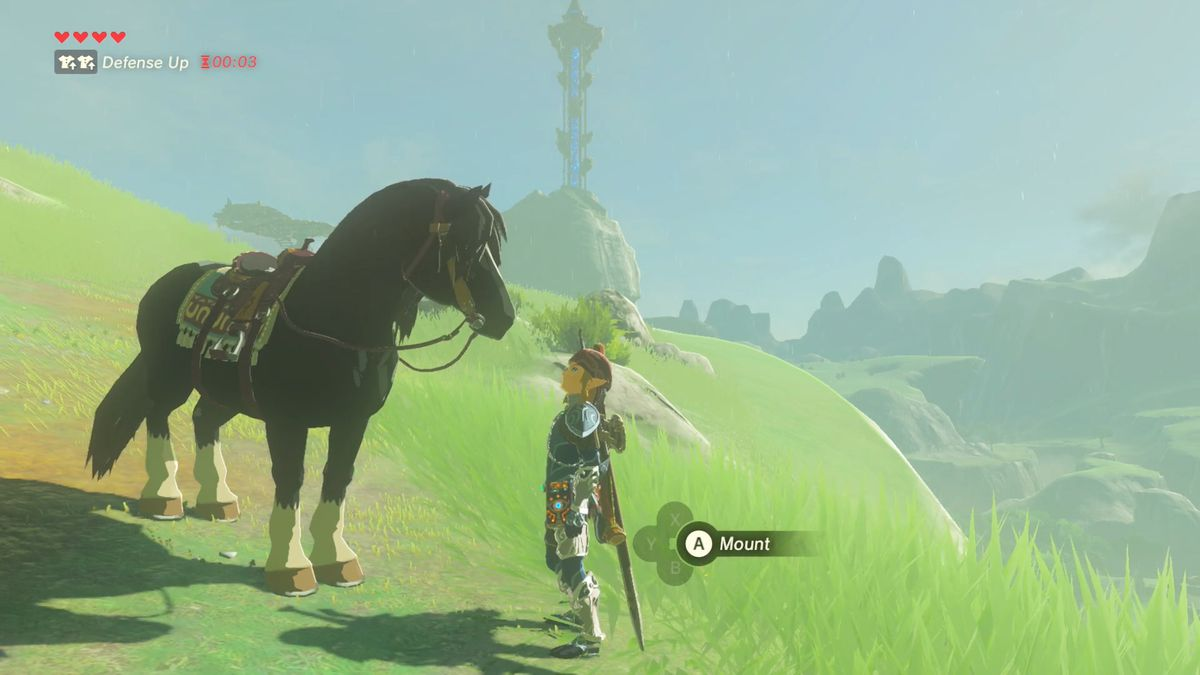 A black horse looks at Link in The Legend of Zelda: Breath of the Wild