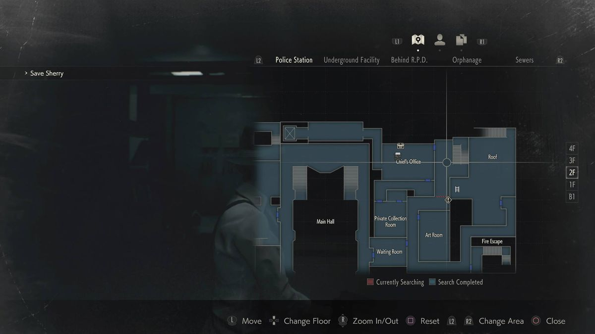 Resident Evil 2 Mr. Raccoon Chief's Office Hallway location map