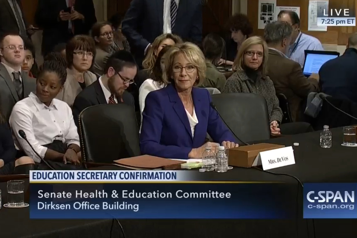 Betsy DeVos answers questions during her Jan. 17 confirmation hearing before the Senate Committee on Health, Education, Labor and Pensions.