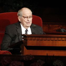 Robert D. Hales speaks during the 182nd Annual General Conference for The Church of Jesus Christ of Latter-day Saints at the LDS Conference Center in Salt Lake City on Saturday, March 31, 2012.