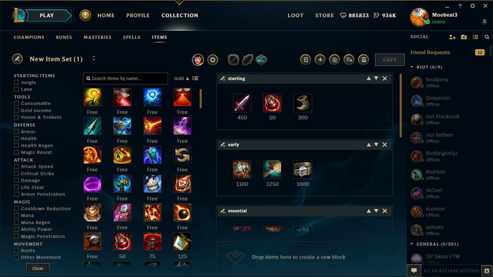 Item Builds In New League Client