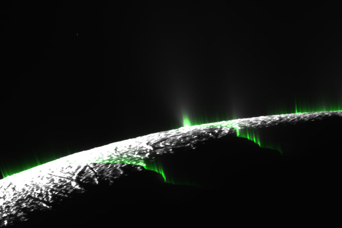 A simulation shows the hypothesized curtains of water leaking from cracks in Enceladus's icy surface.