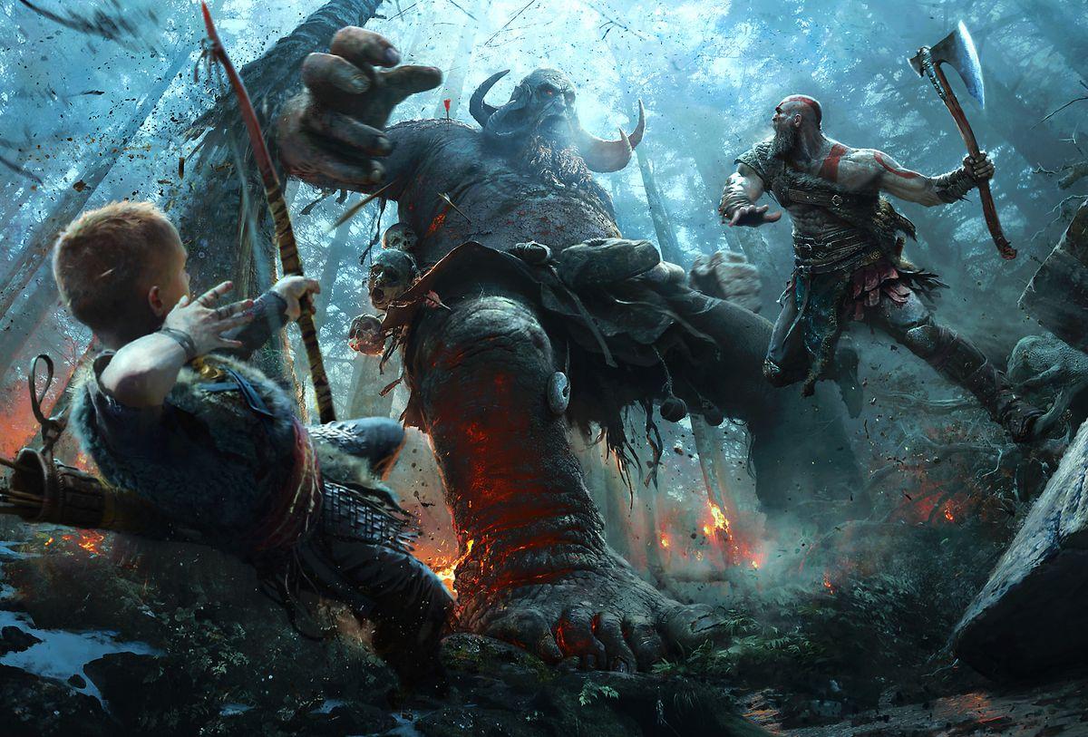 God of War - artwork of Kratos and Atreus fighting a troll