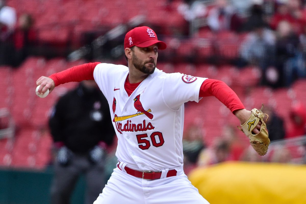St. Louis Cardinals starting pitcher Adam Wainwright (50) pitches during the first inning against the Colorado Rockies at Busch Stadium.