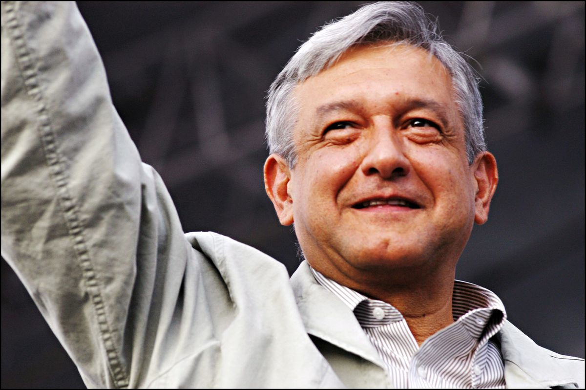 López Obrador attends a rally in Mexico City's Zócalo plaza in Mexico on September 14, 2006.